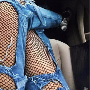 The Black Fishnet Elastic Thigh High