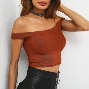 The Slash Neck t shirt women crop top