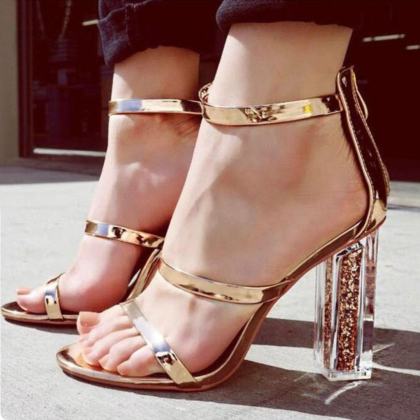 Ankle Strap Gold Sandals Heel Sequined Shoes