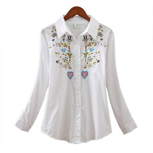 The Floral Embroidery White Cotton Top