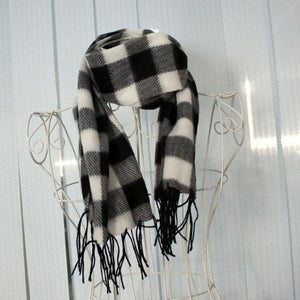 The Casual White&Black Plaids Warm Wool Scarf