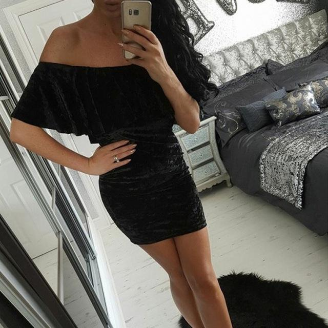 Velvet Off Shoulder Dresses