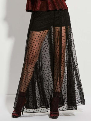 black mesh long sexy skirt