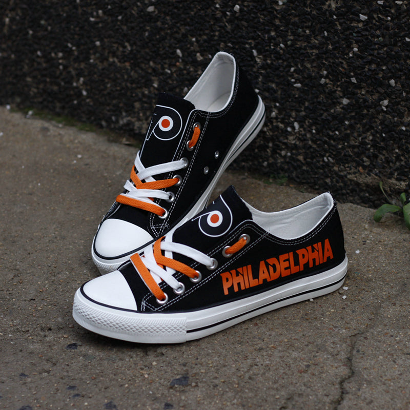 Philadelphia Flyers Canvas Shoes Low Top Black Sneakers for fans Limited NHL-Shoes-Mike's sport fan
