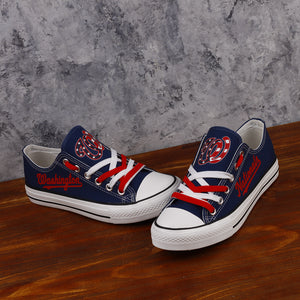 Washington Nationals Canvas Shoes Low Top Black Sneakers for fans Limited MLB-Shoes-Mike's sport fan