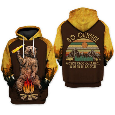 Fun Bear 3D Hooded Sweatshirt Cool