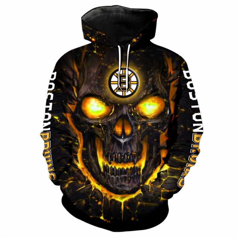 Boston Bruins Hoodie 3D cheap Skull Halloween Sweatshirt Pullover NHL-Hoodie, Sweatshirt-Mike's sport fan
