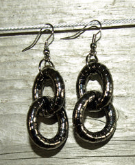 Gun Metal 5mm Double Hoop Earrings