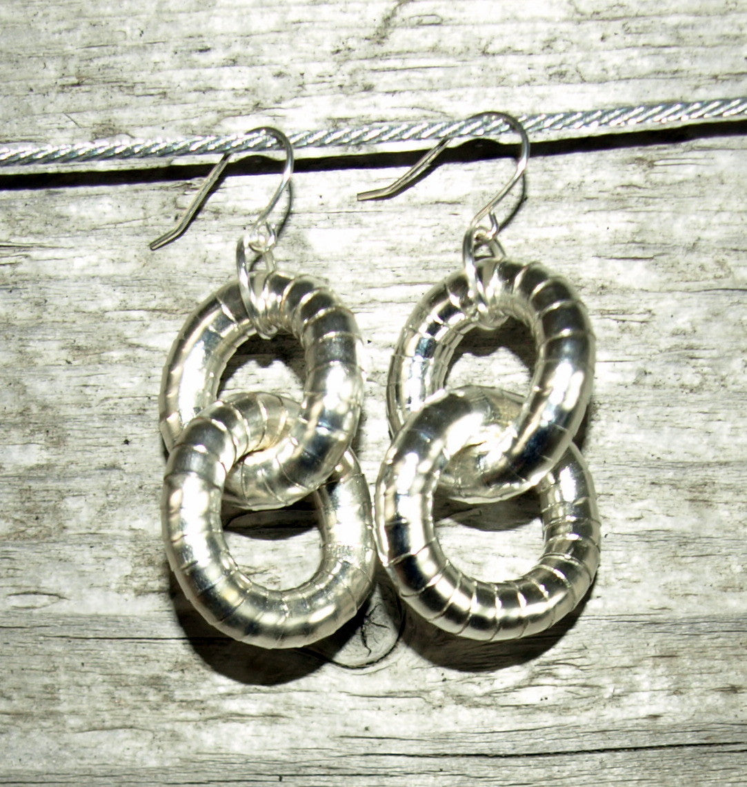 Silver 5mm Double Hoop Earrings