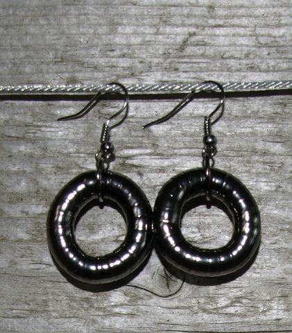 Gun Metal 6mm Single Hoop Earrings