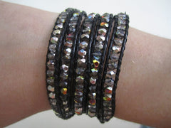 Button Wrap Bracelet Crystal Black