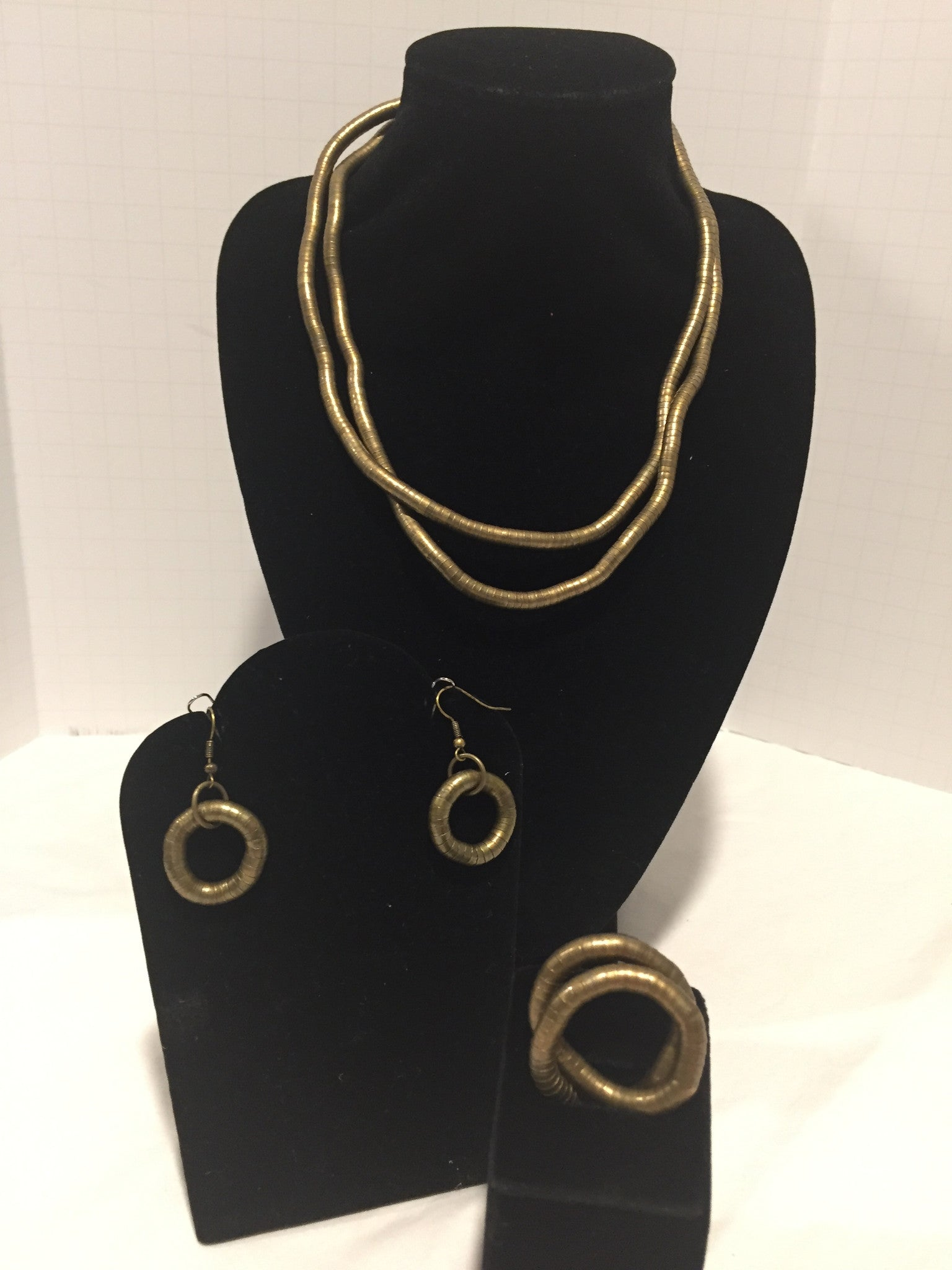 Bronze Skinny Snake Twist Necklace + Ring + Earrings Combination