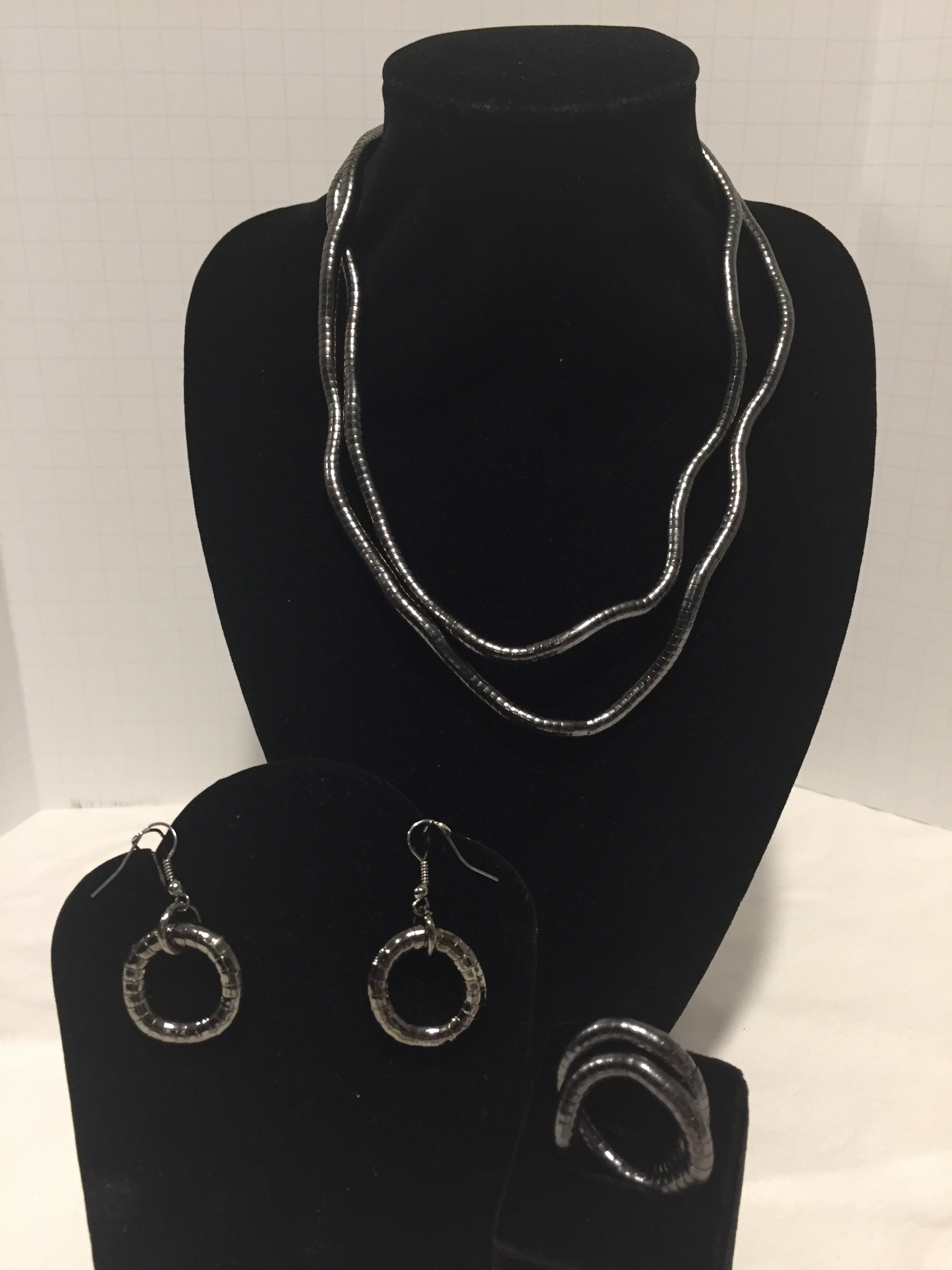 Gun Metal Skinny Snake Twist Necklace + Ring + Earrings Combination