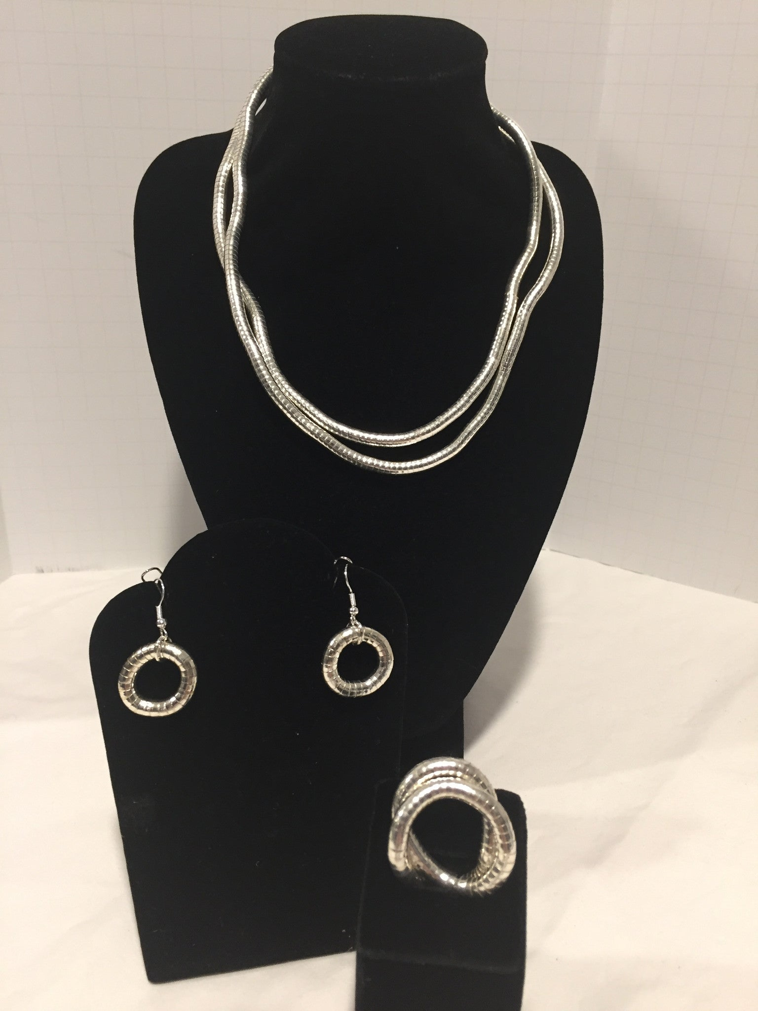 Silver Skinny Snake Twist Necklace + Ring + Earrings Combination