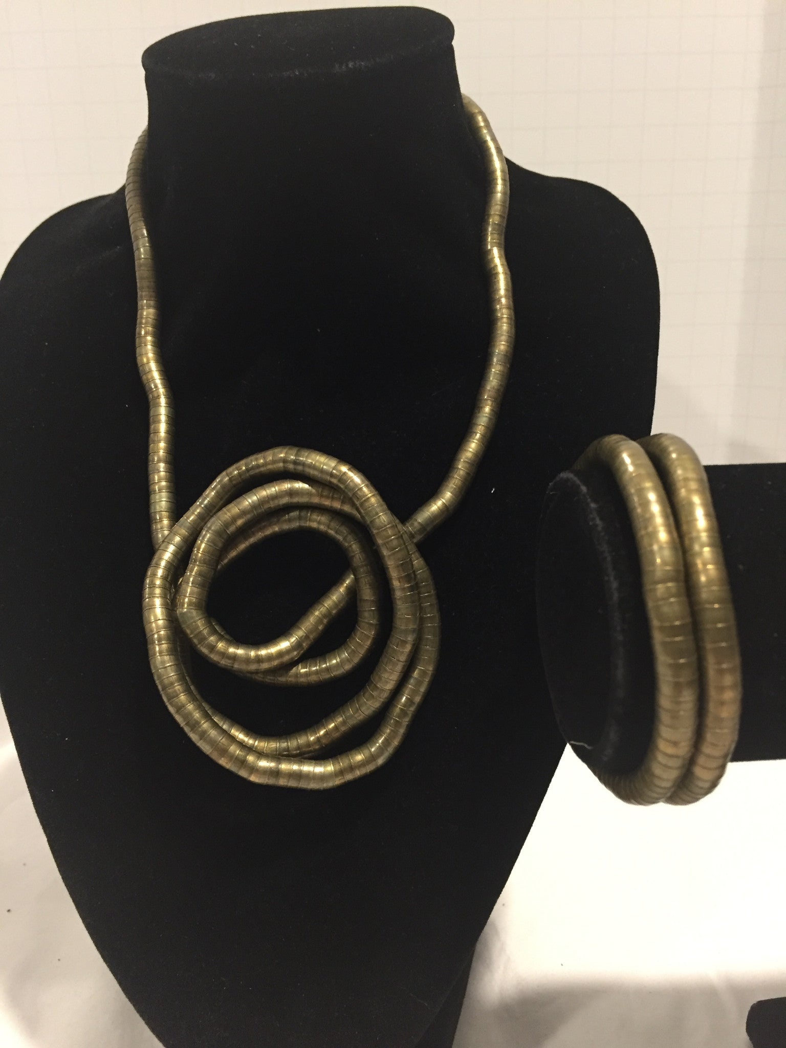 Bronze Medium Snake Twist + Bronze Bracelet Set