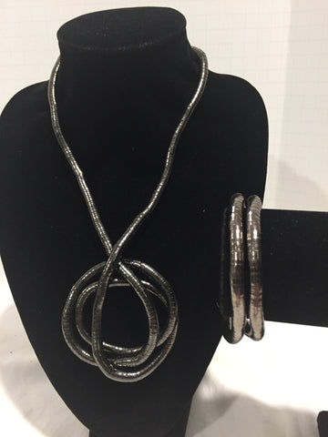 Gun Metal Medium Snake Twist + Gun Metal Bracelet Set
