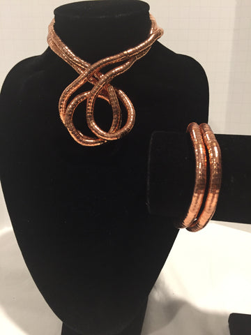 Rose Gold Medium Snake Twist + Rose Gold Bracelet Set