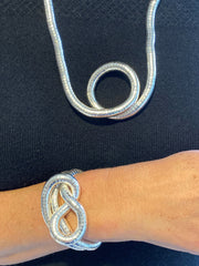 Silver Thick Snake Twist + Silver Thick Bracelet Set