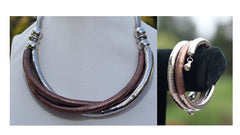 Copper and Silver Bendy Necklace and Bracelet Matching Combination