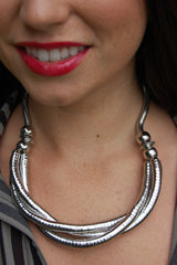 Silver Bendy Necklace and Bracelet Matching Combination