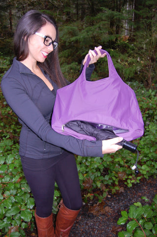 Purple Waterproof Umbrella Tote