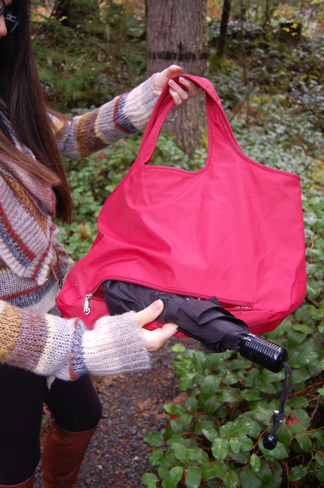 Maroon Waterproof Umbrella Tote