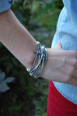 Silver Velvet Faceted Crystal Wrap Around Bracelet
