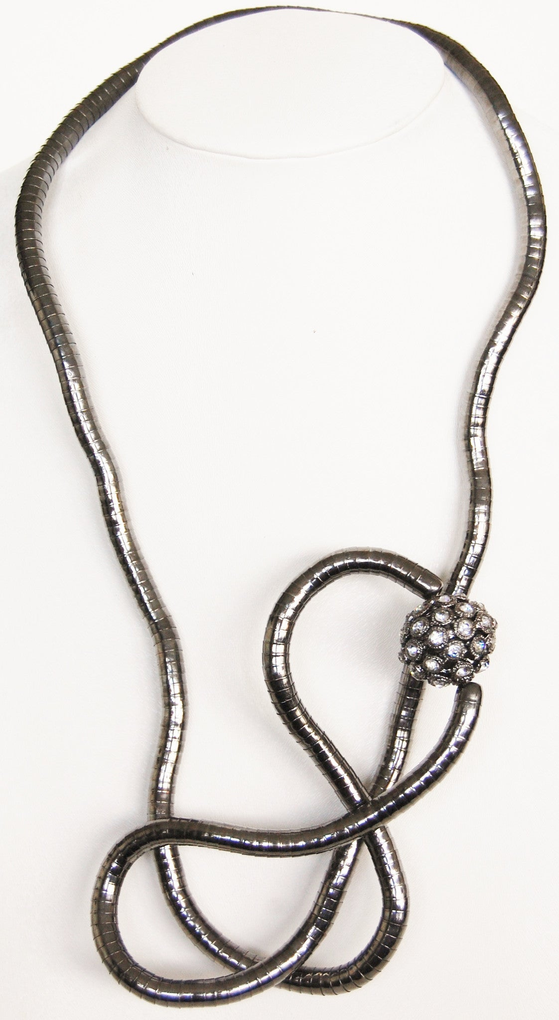 Gun Metal Crystal Ball Necklace