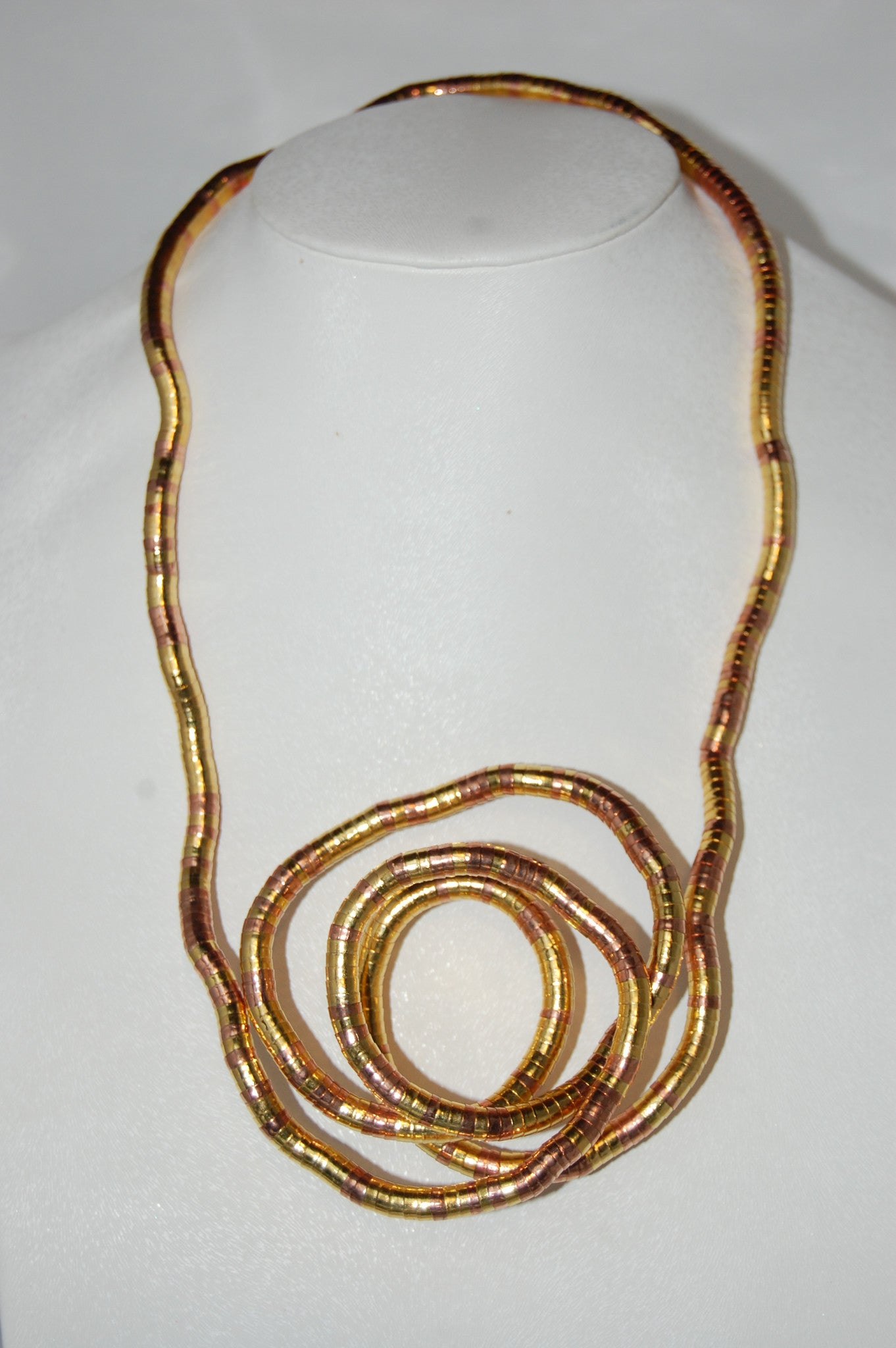 Gold and Rose Gold Bendable Necklace By Snake Twist