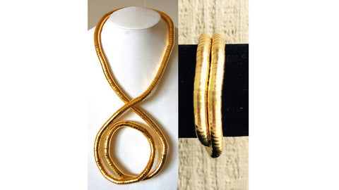 Gold Medium Snake Twist + Gold Bracelet Set