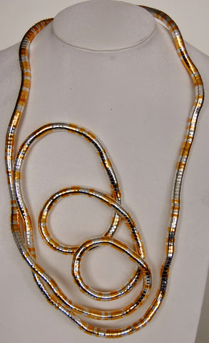 "Silver and Gold Snake Twist, 6mm, 48"" Circumference"