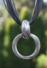 Pewter Locking Rings Necklace