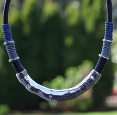 Silver Loop With Blue, Black, and Gray Rolled Cord Necklace