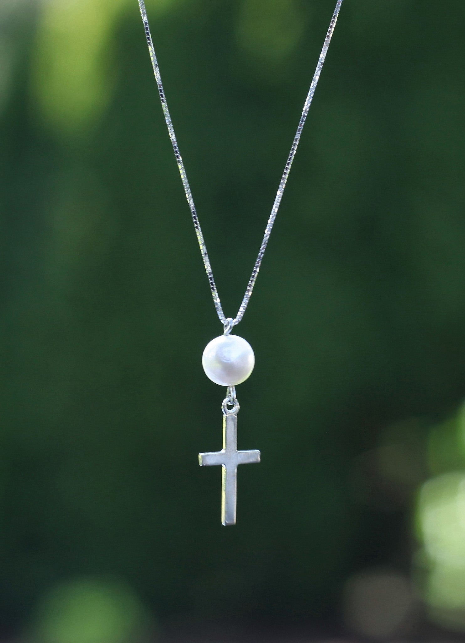 Sterling Silver Cross and Fresh Water Pearl Necklace - Limited Edition