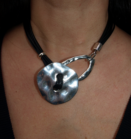 Silver Button Necklace