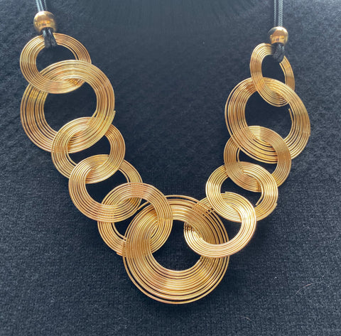 Gold Record Statement Necklace