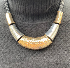 Saber Tooth Gold and Silver Necklace