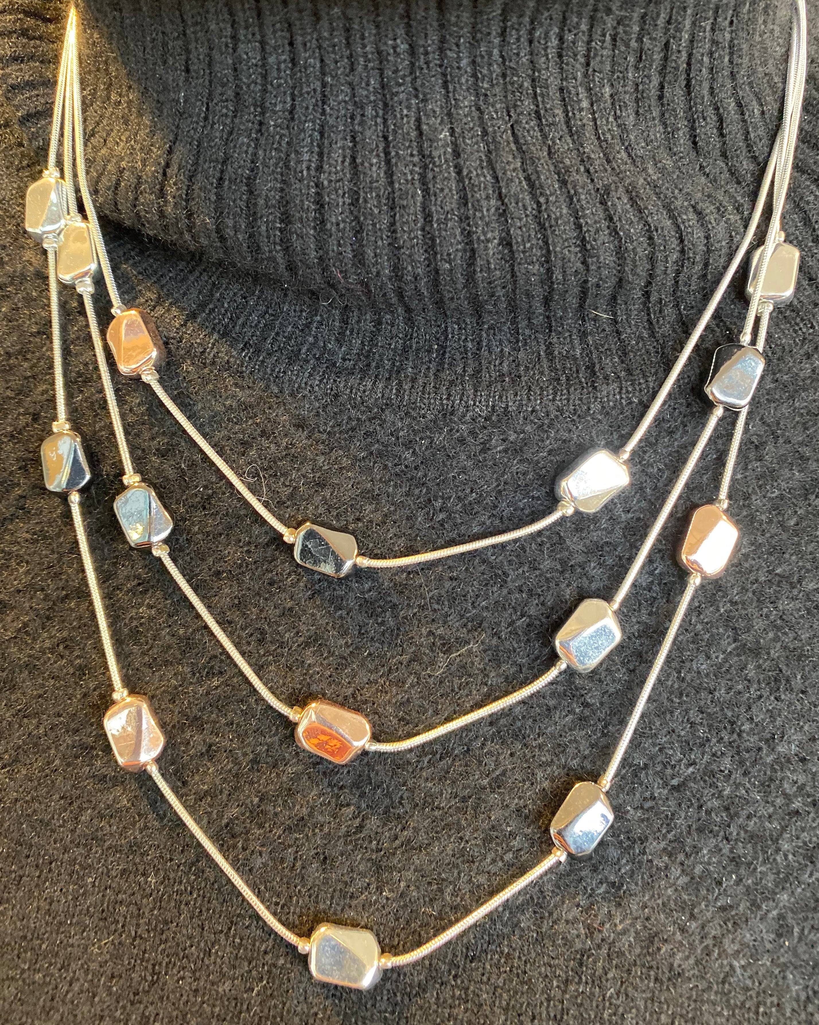Silver, Gun Metal, and Rose Gold Nugget Necklace