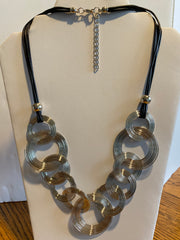 Silver Record Statement Necklace