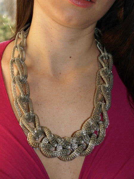 Braided Mesh Necklace Silver Snake Twist