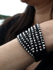 Leather Studded Wrap Bracelet- Crystal Black