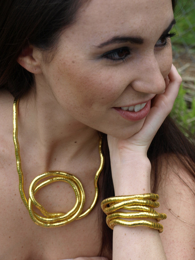 Gold Medium Bendable Necklace & Bracelet