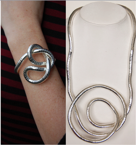 Silver Medium Snake Twist + Silver Bracelet Set