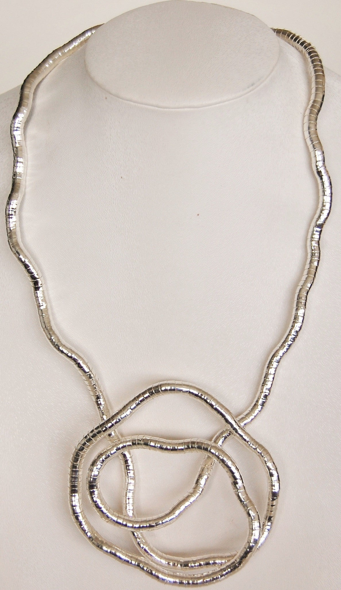 "Silver SnakeTwist, 5mm Thick, 36"" Circumference"