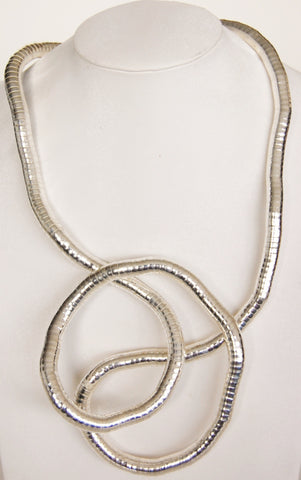 "Silver SnakeTwist, 8mm Thick, 36"" Circumference"