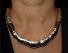Silver Loop With Brown, Beige and Rust Rolled Cord Necklace