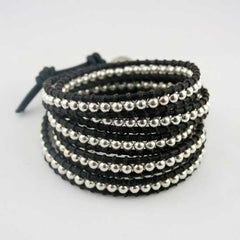 Silver Button Wrap Bracelet