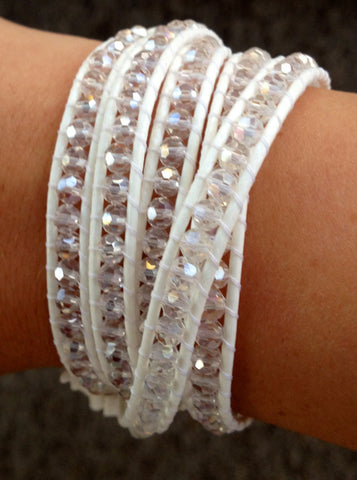 Button Wrap Bracelet- Crystal White Leather