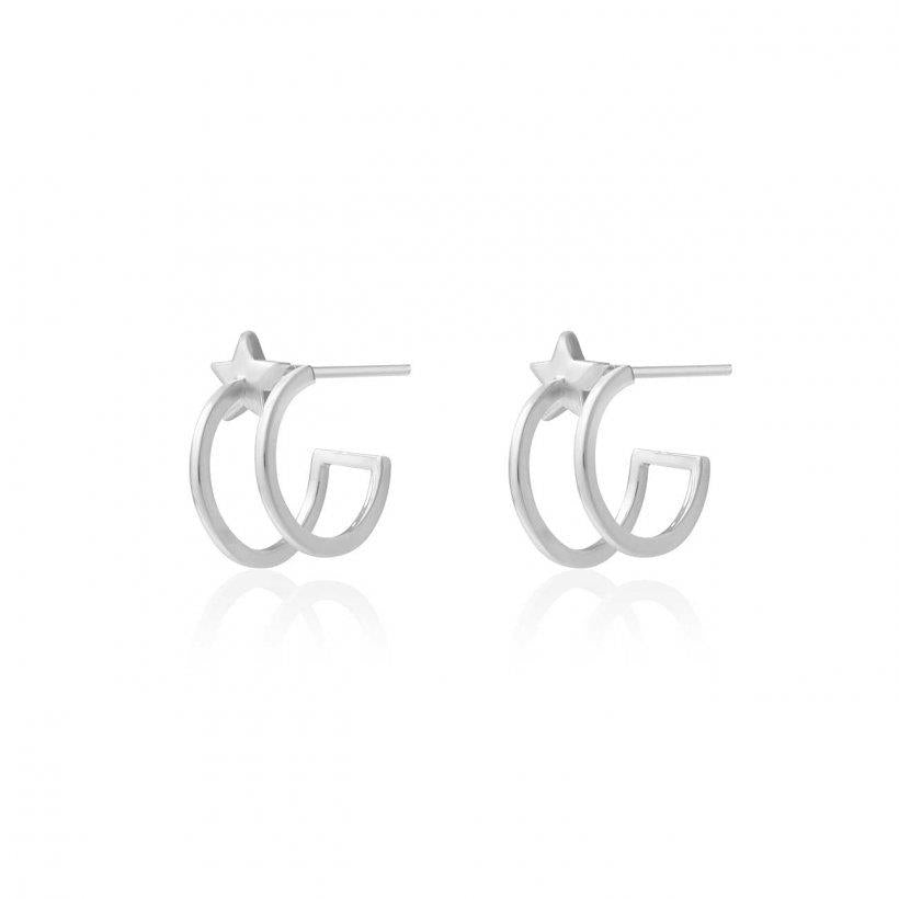 Estelle Silver Star Double Hoop Earrings