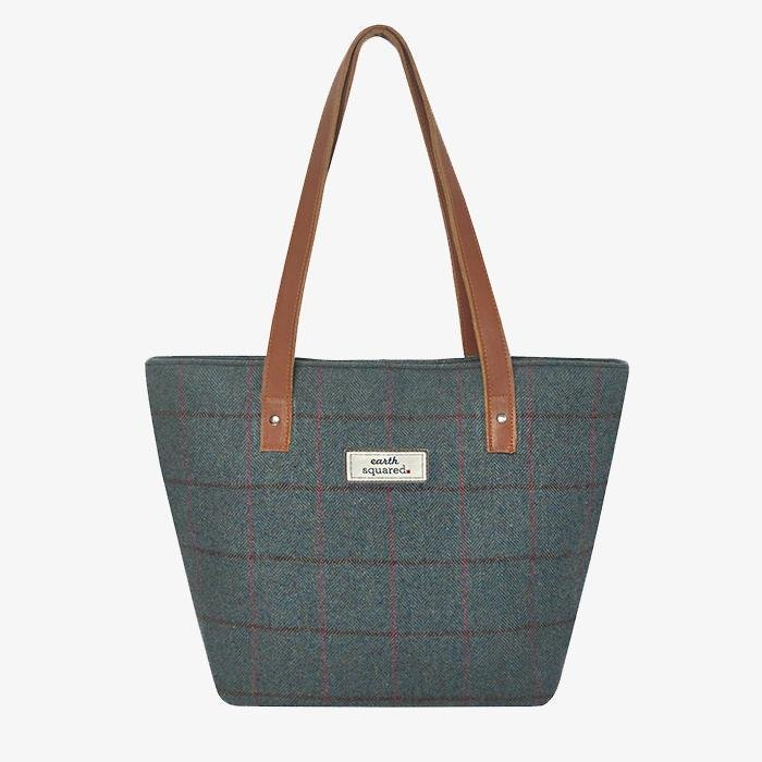 Herringbone Tweed Tote Bag | Steel Blue